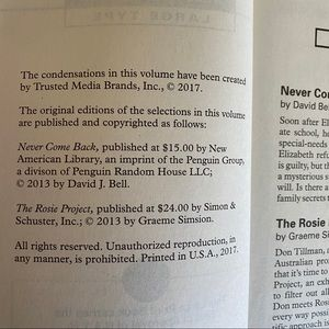 Reader's Digest Condensed Large Print Books Accents - Digest Large Print Never Come Back & Rosie Project